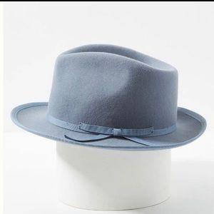 Anthropologie Lex Trimmed Fedora Blue